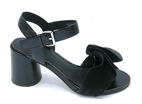 Elvio Zanon J5605 - Sandalias Naplak-Ante Negro Correa Frappa Tacón Redondo 7 cm - Talla Zapato 35 Color Negro