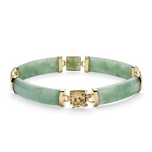 Goldtone over Sterling Silver Macaroni Link Genuine Green Jade, Dragon Link Bracelet (8.5mm), Box Clasp, 7.25 inches
