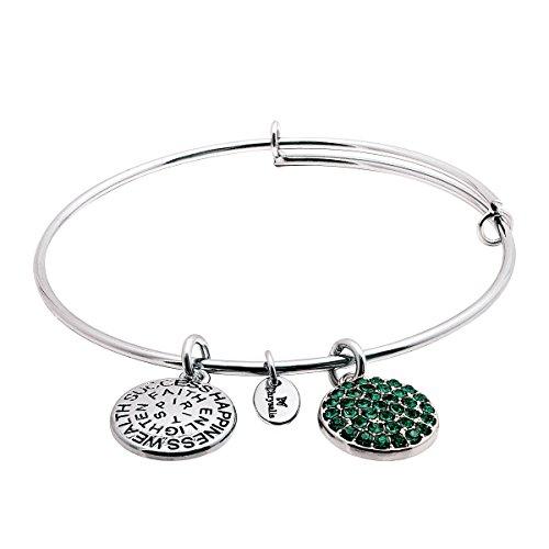 Chrysalis erweiterbar Armreif Armband mit Smaragd Swarovski Kristallen in Rhodium über Messing