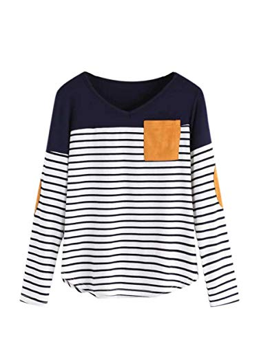 Milumia Women's Elbow Patch Tops Striped Round Neck Color Block Casual T Shirt Navy XX-Large Plus