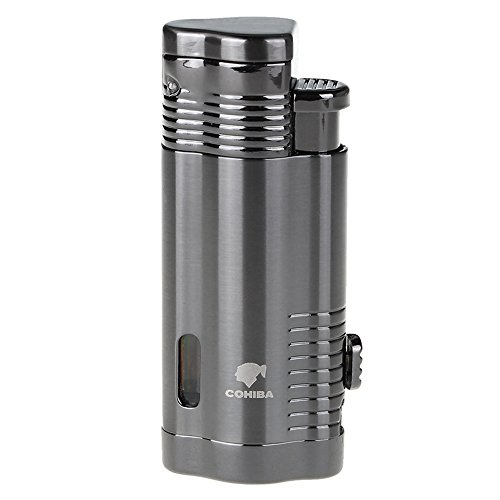 Cohiba Windproof Lighter Gas Lighter Cigarette Lighter Torch Jet Flame Refillable Inflatable Flame Lighter Cigar Lighter (Dark Gray)