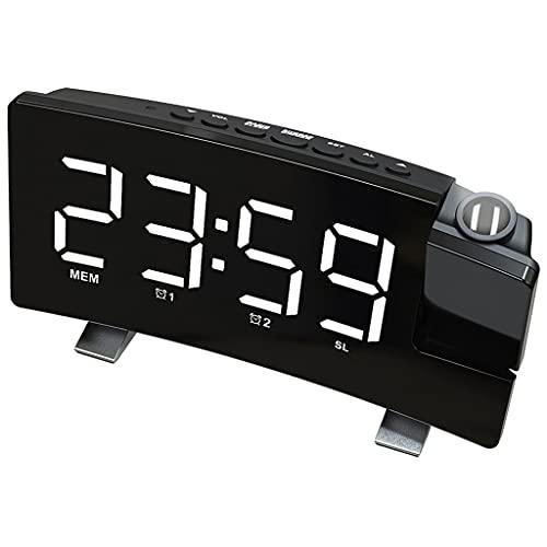 B Blesiya Despertador Radio Proyección en la Pared del Techo Alarma Doble Pantalla LED Batería de Escritorio Radio FM Mesita de Noche Habitación para niños - Luz Blanca