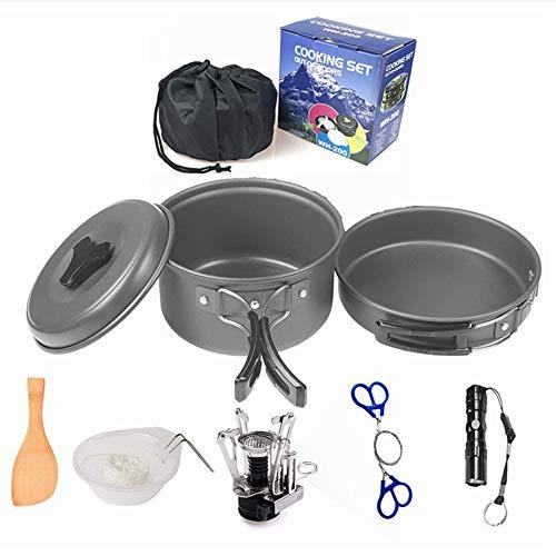 ZXYWW Pot portatif extérieur, Vaisselle de Survie pour la randonnée 1-2 Personnes, Pot de Pique-Nique, Accessoires de Batterie de Cuisine
