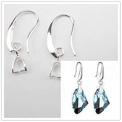 LPNJLALA 100 Uds 925 hallazgos de joyería de Color Plata 925 Ganchos de pellizco de Pendiente de Color Plata esterlina para Perla de Cristal