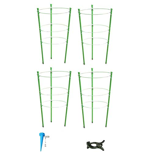 Casinlog 8 Pack Garden Plant Support Tomato Cage Trellis for Climbing Plants, with 8 Self Watering Spikes and 40 Plant Clips