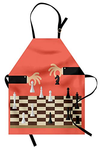 ABAKUHAUS Bordspel Keukenschort, Cartoon Schaken 2 Hands, Unisex Keukenschort met Verstelbare Nekband voor Koken en Tuinieren, Coral Black