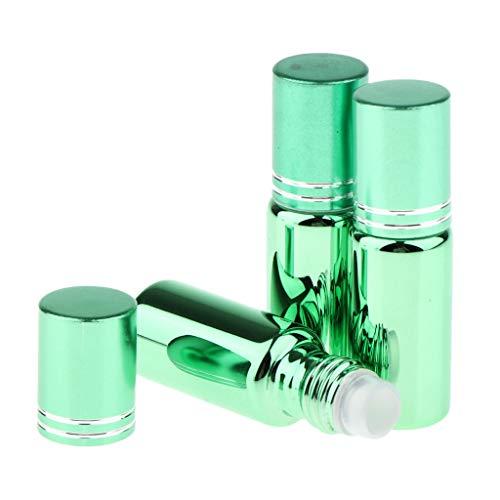 Amuzocity 3pcs Bouteilles Vide en Verre UV Résistant Rouleau à Billes pour Huiles Essentielles Huiles de Parfum et Liquides - vert