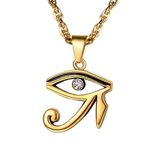 PROSTEEL 18k vergoldet Herren Kette Ägyptischen Udjat-Auge Horusauge Anhänger Halskette 55+5cm Singapurkette Religiöse Modeschmuck Geschenk für Männer Jungen