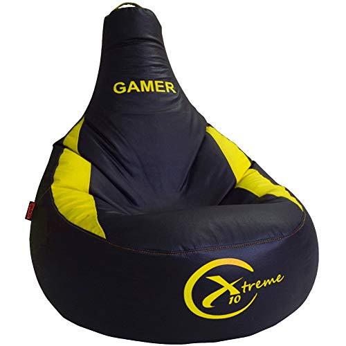 Puff Gamer X10 Extreme - para vosotros Jugadores - Ideal para Jugar con tu Consola Playstation, Xbox, Wii etc. Puff XL Poli-Piel Impermeable Color Azul - Relleno Incluido (XL, Amarillo)