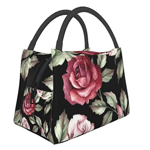 Bolsa de almuerzo portátil con aislamiento Cool (Pattern Roses Hand Draw) 8.5L