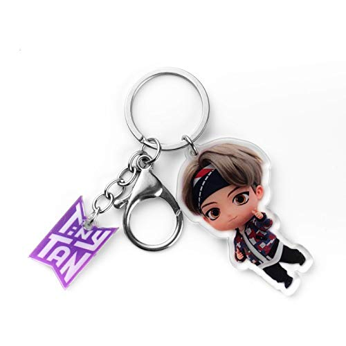 YUY BTS Porte Clés avec J Hope Jimin Suga V RM Jungkook Jin Q Version Dessin Animé Acrylique Pendentif Porte-clés,V