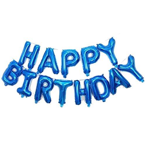doitsa globos de cumpleaños feliz de letras pancarta Happy Birthday película de aluminio globos, Condecoraciones cumpleaños artículos de fiesta–azul