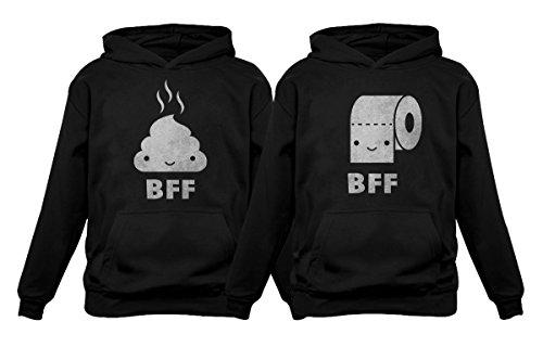 BFF – Conjunto divertido de melhores amigos combinando cocô e papel higiênico com capuz, Papel higiênico preto/cocô preto, Toilet paper XX-Large / Poop Small