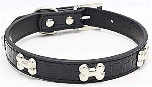 DHGTEP Collar de Perro de Cocodrilo con Hueso de Metal Brillante Collar de Perro (Color : Black, Size : 42x2cm)