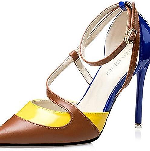 BGYHU Ggx femme Chaussures PU PU d'été talons talons décontracté Stiletto Talon d'autres Noir bleu rose  livraison directe et rapide