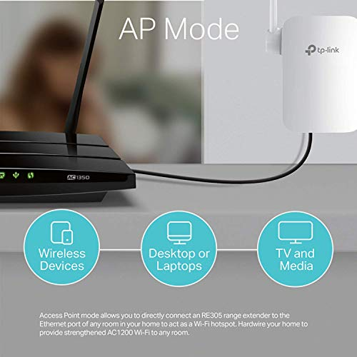 TP-Link WiFi Range Extender RE305 - AC1200 Dual Band WiFi Extender, Repeater, Internet Booster, WiFi Signal Booster, Access Point, Easy Set-Up, External Antennas, Wall Plug Design, black