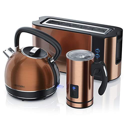 Arendo 1,7 Edelstahl Wasserkocher plus 240 ml Milchaufschäumer plus 1000 W Langschlitztoaster in Kupfer Design