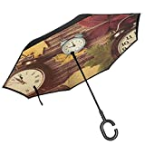 RenteriaDecor Fall Umbrella Different Colored Dry Maple Leaves and Various Alarm Clocks on Wooden Planks Print Umbrella Windproof, Inverted Umbrella, Umbrellas for Women