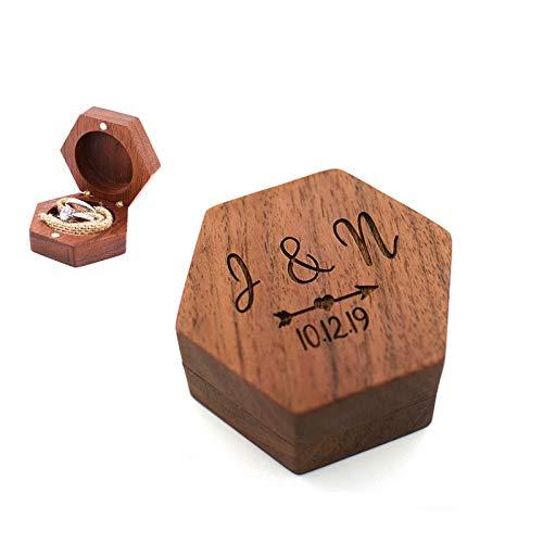 Daiwen Caja de Madera Personalizada para Anillos de Boda Cajas de Anillos Personalizadas para Compromiso, Caja para Anillos de Boda para Propuestas de Regalos de Boda (sin Anillo)