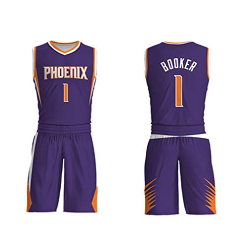 Suns Team 1# Booker mannen jongens basketbal sport pak Jersey + korte broek ademende vocht Top voor fans