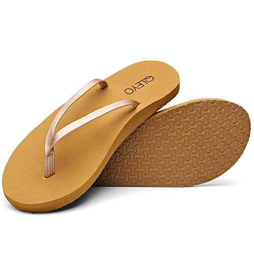QLEYO Arch Support Flip Flops for Women, Soft Mat Foam Sandal, Handcrafted Thong Shoes for Travelling/Beach/Pool/Party QLTX03-1-W24-7