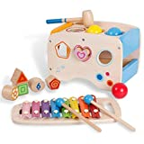 3 en 1 jeu éducatif en bois, jouets damage Banque, jouets éducatifs pour enfants, xylophone extensible et forme des blocs correspondants