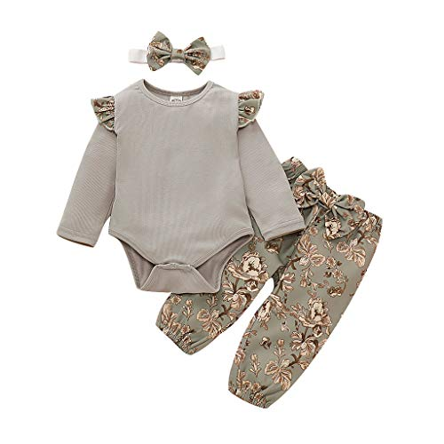 Miss Fortan Mädchen Baby Body Strampler Outfit Set, Blumenschmuck Stil Rüschen solide Baby Langarm Body Strampler Outfit (Grau, 80)