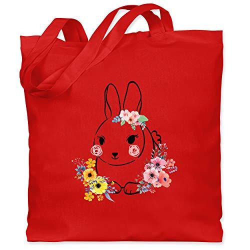 Shirtracer Ostern - Hase mit Blumen - Schwarze Linien - Unisize - Rot - Geschenk - WM101 - Stoffbeutel aus Baumwolle Jutebeutel lange Henkel