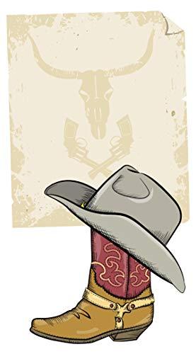 Wandtattoo USA Wandsticker Cowboy Stiefel mit Hut und einem coolen Western Abbi