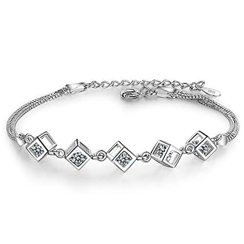 N/A Día de la Madre Pulsera Cuadrada de Cristal de Plata de Ley 925 para Mujer, Pulsera y Brazalete, joyería para Fiesta de Boda Regalo de cumpleaños de Navidad de San Valentín