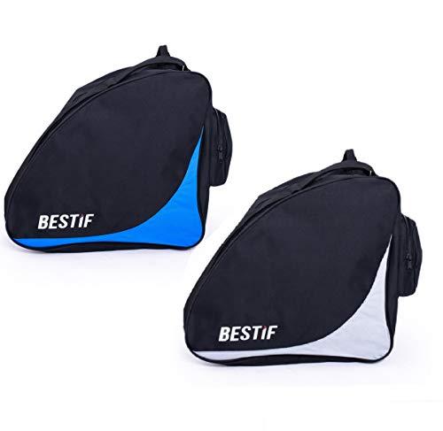 BESTIF Skischuhtasche wasserdicht | Tasche für Skischuhe/Schlittschuhe | widerstandsfähige Stiefeltasche (Schwarz-Blau)