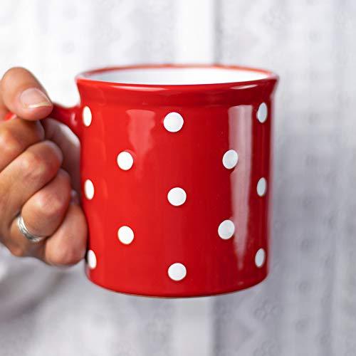 Taza de cerámica hecha a mano con lunares rojos y blancos extra grande de 500 ml | Chocolate caliente, café, té, taza con asa, regalo único de diseñador para los amantes del té de City to Cottage