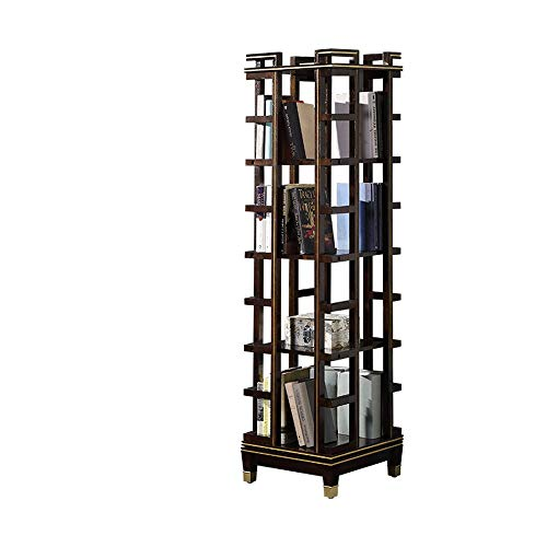 LIUXING Simplemente estantería 360 Grados de rotación Librería de Madera Maciza de Ahorro de Espacio de Piso Estante Estantería (Color : Wood, tamaño : 151X40X40cm)