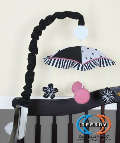 GEENNY Musical Mobile, Boutique Black/White Flower and Dot