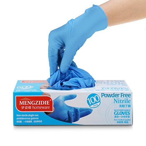 Nitrile Gloves,TAPCET 100pcs Disposable Gloves, Latex Free, Powder Free Nitrile Exam Gloves, Cleaning Gloves for Home Use(M, Blue)