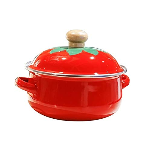 18cm 1.5L Japanse Tomato Emaille Pot van de Soep Stockpot Mini Saucepan Milk Egg Noodles Koken Pan for Cooker Gasfornuis (Color : White)