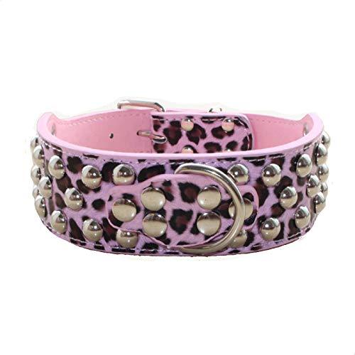 Haoyueer - Collar de piel con tachuelas para perros medianos y grandes (5 cm de ancho, 3 filas), diseño de pitbull, color rosa