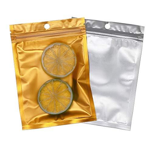 Rimiko 50 Stück Druckverschlussbeutel Zip Folien Mylar Flachbeutel Goldfarben, Wiederverschließbare Geruchssichere Tasche zur Aufbewahrung von Lebensmitteln (9x16cm)