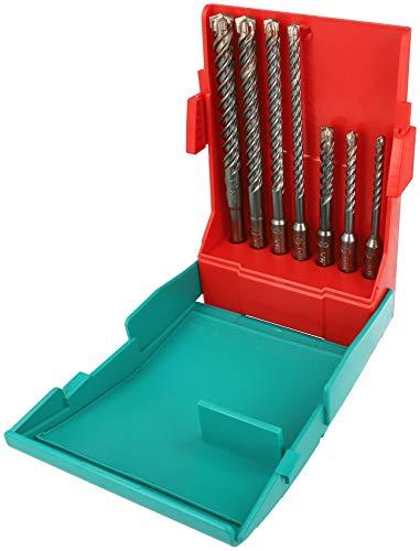 Heller Tools 1418 4POWER SDS-plus Hammerbohrer mit 4 Schneiden Set 7-tlg, Grau, Ø 5/6/6/8/8/10/12 mm