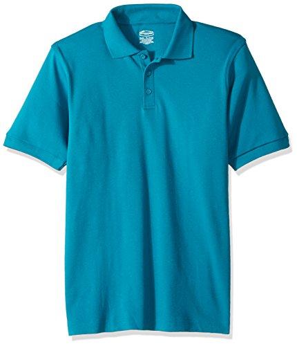 Classroom School Uniforms Kids Big Boys' Uniform Short Sleeve Interlock Polo, Teal, L