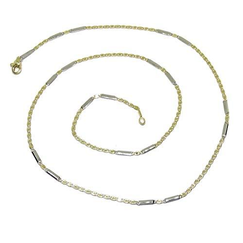 Never Say Never Cadena de Oro de 18k Amarillo y Blanco para Mujer de 50cm combinada eslabones Valentino en Amarillo y Barra Rectangular en Blanco, de 2mm de Ancha. Todo Oro 18k