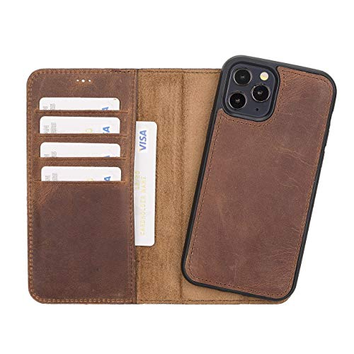 """Leather iPhone 12 Pro 6.1"""" Wallet, Best Phone Case for iPhone 12 Pro, Full Grain Leather Magnetic Detachable Back Cover, Stand Function, Back Cover Supports MagSafe Charge and Wireless Charge"""
