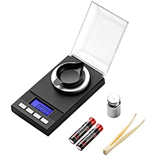 Milligram Scale 50g / 0.001g Digital Jewelry Gun Powder Scale for Reloading Microgram Scale With Back-lit LCD Display Batteries Included (50g)