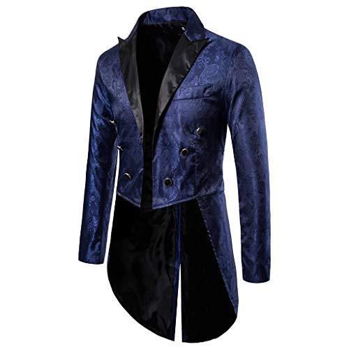Binggong Herren Vintage Frack Steampunk Gothic Jacke,Mittelalter Kostüm,Viktorianischen Langer Mantel Fasching Karneval Cosplay Kostüm Smoking Parka Uniform Fit