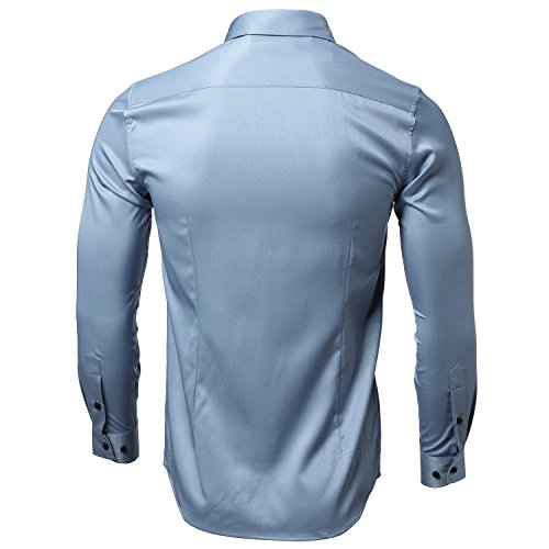 INFLATION Men's Bamboo Fiber Dress Shirts Slim Fit Solid Long Sleeve Casual Button Down Shirts, Elastic Formal Shirts for Men Gray Blue