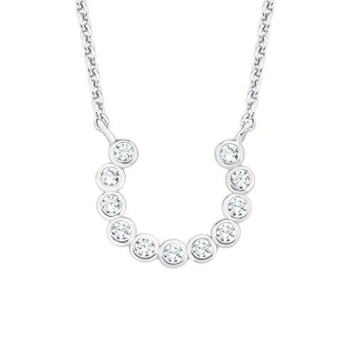 s.Oliver Damen-Kette 45 cm So Pure mit Hufeisen-Anhänger 925 Silber rhodiniert Zirkonia weiß
