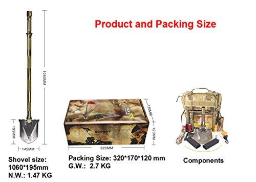 Supervivencia pala plegable militar y recoger con bolsa de transporte para Camping,...