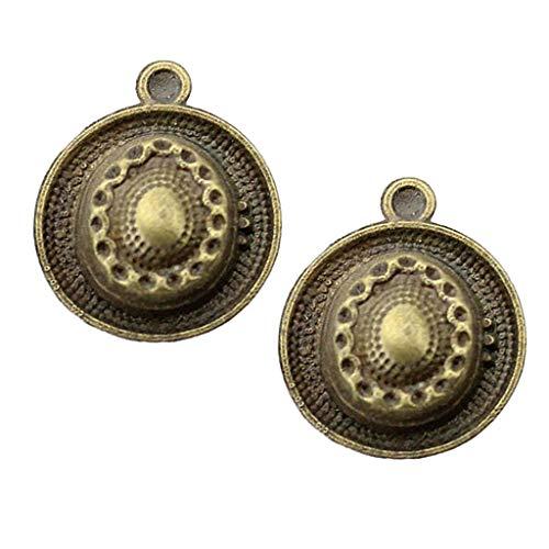 Fenteer 10er Pack Mischform Design Charms Anhänger zum Basteln von Bettelarmbändern für Armband Halskette Ohrring - Hut, 20-37mm
