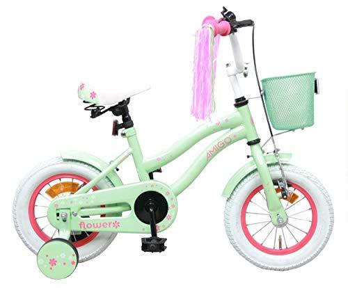AMIGO Flower - Kinderfahrrad - 12 Zoll - Mädchen - mit Rücktritt und Stützräder - ab 3 Jahre - Grün
