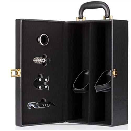 Caja de vino de doble barra con abridor de botellas caja de regalo caja de vino caja de embalaje de vino de cuero de pu de diamante asa superior negra